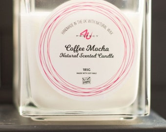 Perfect4U Handmade Coffee Mocha Scented Candle - Soy Wax Scented Candles UK
