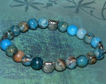 Happy Cat Silver Beads Blue Crazy Lace Agate Gemstone Bracelet