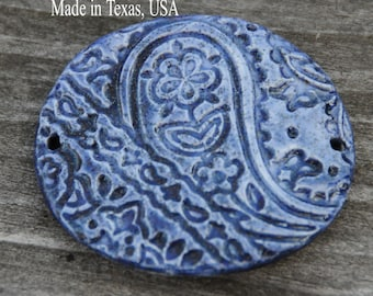 One Handmade Pottery Bead in a Cobalt blue with a shimmer in a paisley design