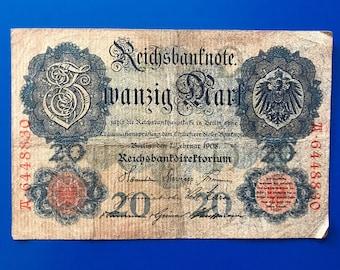 WWI German Imperial Reichsbanknote 20 Mark - 1908 F+