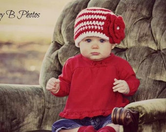 red and white striped flower hat