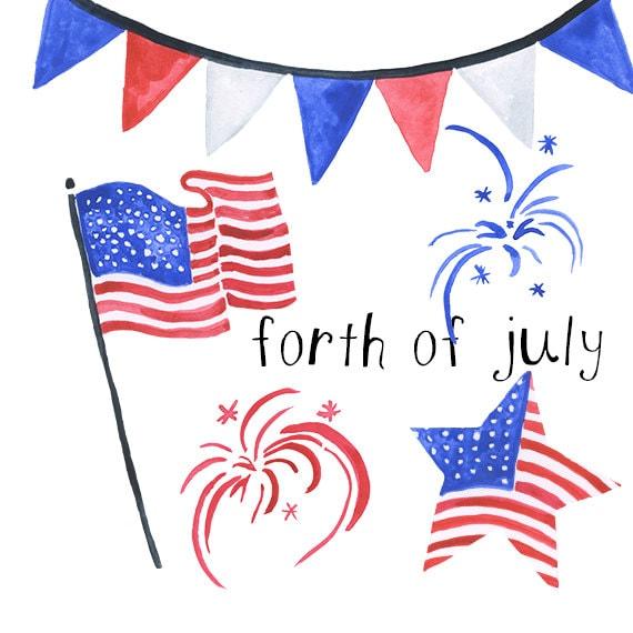 watercolor forth of july americana clip art american clipart rh etsy com americana clipart free american clip art transparent