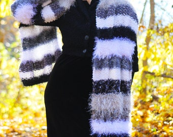 "Luxury Hand-Knit Doctor Who Scarf ""Two Doctors"" Scarf in Black, White, and Grey, Long, Striped, Multi-Textured, Fuzzy, Soft, Warm! OOAK"