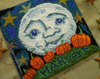Punch Needle Embroidery Pattern DIGITAL Instant DOWNLOAD Jpeg and PDF files Michelle Palmer Harvest Moon Blue October Pumpkin Patch Stars
