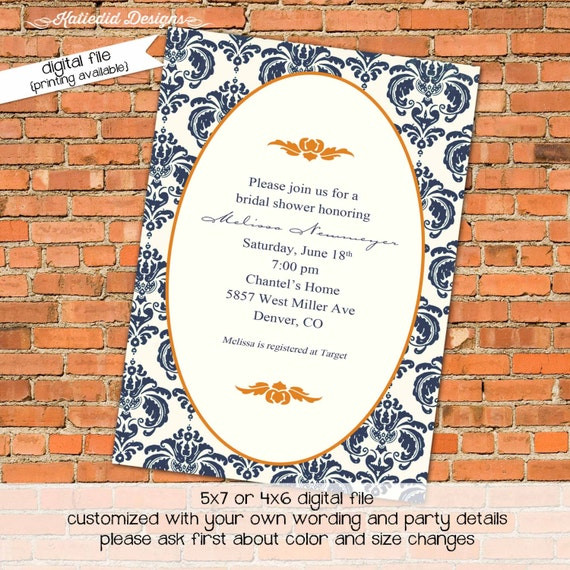 Couples Bridal Invitation stock the bar after party rehearsal dinner retirement party coed party navy blue orange damask 313 katiedid design