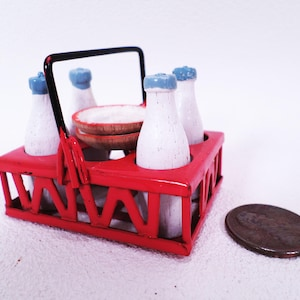 Miniature Milk Bottles in Carrier and Plates Vintage 80s