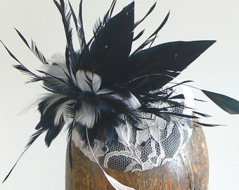 Pink and black lace cocktail hat - couture blush lace fascinator - mother of the bride lace hat