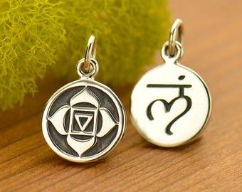 Root Chakra Charm Sterling Silver Root Chakra Symbol Charm, Root Chakra Pendant, Yoga Charms, 16.5x10mm