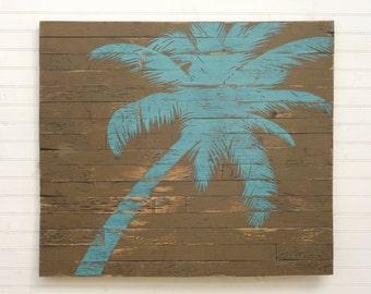 Pallet Palm Tree Print Rustic Decor Palm leaves  Beach Decor Pallet Wall Art Home Decor Wedding Beach Decor Wedding Gift