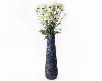 Vintage Fat Lava Vase in Teal Blue and Black