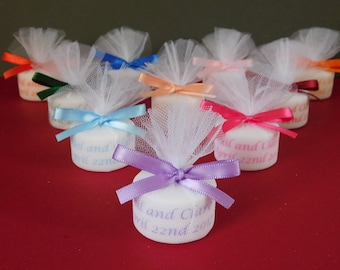 Personalised Candle Tealight Wedding Favours With Any Colour Text And Satin Bows Set of 10