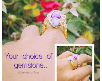 Chained Rings. Pick your gemstone.