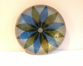 Annemarie Davidson Flower Enameled Copper Plate in Blue and Green