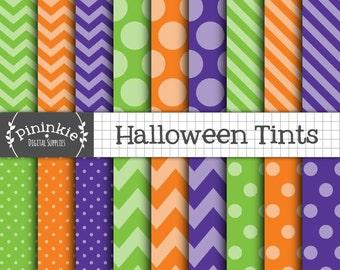 Halloween Scrapbook Paper, Halloween Digital Paper, Digital Background, Halloween Patterns, Polka Dots, Chevrons, Diagonal Stri