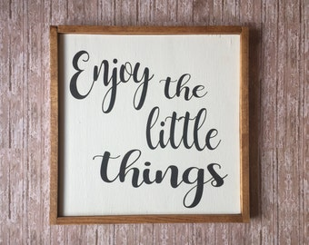 """Custom Wood Sign, Farmhouse Sign, Enjoy the little things 11""""x11'',rustic sign, Rustic wood sign, Home Decor, Wall Decor,framed wood sign"""