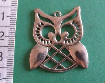 silver pendant, set of 5, owl, 31mmx27mm