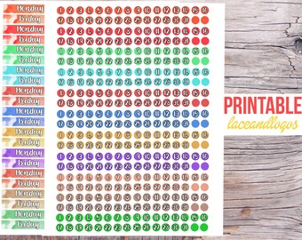 Printable Planner Stickers Monthly Date Strips Day Covers Layout Change Monday through Sunday for Erin Condren Glam Planning Neutral Water