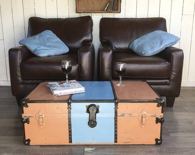 "Featured listing image: 1920s-30s Steamer Trunk, Foot Locker with Tray, Two-tone Brown & Blue  ""Great for Coffee Table, Storage, Decorating"""