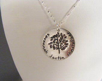 Family Tree Necklace - Personalized Family Necklace - Tree Of Life Necklace - Custom Silver Necklace - Name Necklace - Mother's Necklace -