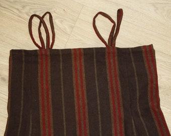 Viking overdress/hangerock/pini red-brown-grey striped, wool