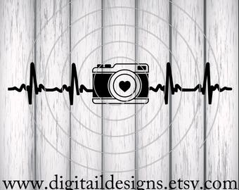 Camera EKG SVG - png - dxf - eps - fcm - ai - Cut File for Silhouette, Cricut - Camera Love - Photographer SVG - Camera Heartbeat