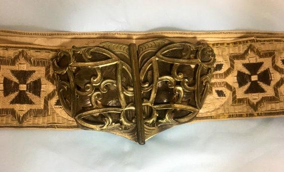 Vintage Edwardian Woven Fabric Belt w Metal Buckle