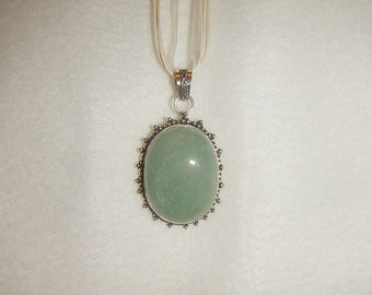 Aqua Amazonite pendant necklace set in .925 sterling silver (P399)
