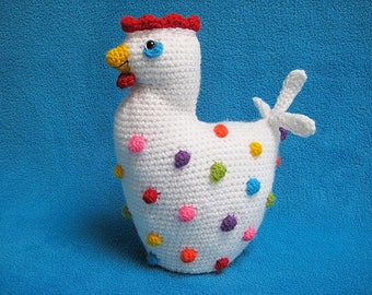 Chicken Polka Dots Crochet Pattern PDF Easter Amigurumi Decor Chick Bird