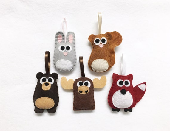 Woodland Animals Ornament Set, Forest Friends - Set of Five Ornaments, Wedding Favors, Party Favors, Christmas Ornament