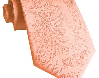 Men's Paisley Peach Regular Necktie, for Formal Occasions