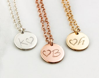 Personalized Necklace • Initial Heart Necklace • Wedding Date Necklace • Bridesmaid Gift, Custom Circle Necklace • Custom Letter Necklace
