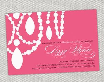 Necklace Bachelorette Invitation // Hot Pink
