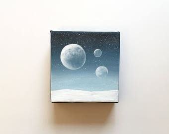 Hoth III - Star Wars   Original Acrylic Painting   4x4 Inches   By Janelle Anakotta
