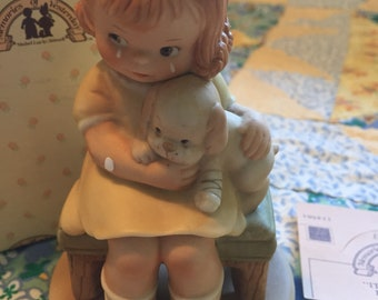 Vintage Enesco Memories of Yesterday Figurines It Hurts When Fido Hurts Little Girl With Injured Puppy Figurine