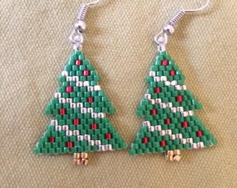 Christmas trees beaded earrings