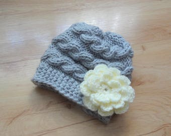 Knit girl Hat , Baby girl Hat , Newborn Hat Baby Hat girl hat with crochet flower girl Outfit  Photo Prop newborn hat Knit flower Hat ifonka