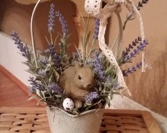 Spring Rustic Easter Basket -Chubby Bunny, lavender, spring flowers, greenery, speckled egg. Easter Home decoration