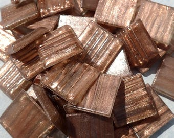 Antique Rose Gold Vein Glass Mosaic Tiles Squares - 3/4 inch - 25 Tiles for Craft Projects and Decorations -  Venetian