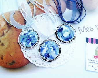 "Necklace cameo ""Santorini"", blue necklace women, unique blue necklace, blue jewelry, gift idea for woman, woman blue passion jewelry idea"