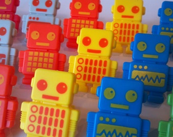 24 Adorable Robots cupcake rings picks or cake toppers, great for your next robot boy or girl birthday party or as treat bag favors goodie