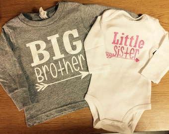 Big Brother Little Sister Long Sleeve with Arrow