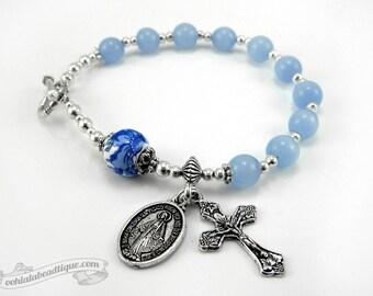 Blue rosary bracelet, vine crucifix, single decade rosary, Catholic Rosary, Catholic bracelet, Confirmation jewelry gifts, blue chaplet