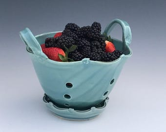 Gloss Turquoise Berry Basket Colander - Pottery Colander - Berry Strainer - Handmade Pottery Colander - Berry Bowl
