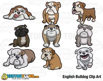 English Bulldog Clip Art, Digital Clipart, Digital Graphics