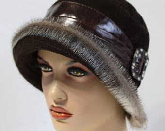 """Women's Cloche Hat made of Leather and Fur """"Gloria"""" - Cloche Hat, Winter Cloche Hat, Leather hat, Sueded Hat, Vintage style Cloche Hat"""