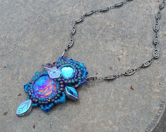 River Goddess Necklace with Swarovski Crystal and Vintage Glass Stones - Bead Embroidered Pendant in Blue and Purple
