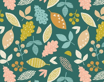 Kids cotton fabric - Harvestwood - Dashwood studio - leaves of the forest - by 50cm (110 x)