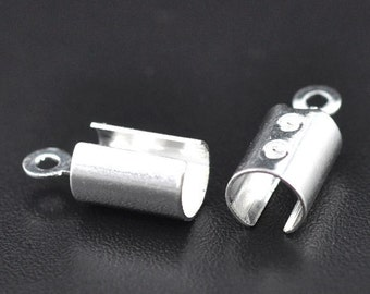 50 or 100 pcs. Silver Plated Crimp End Tips Caps with Loop - 11.6x5.2mm - Fits cords of 4mm thickness!