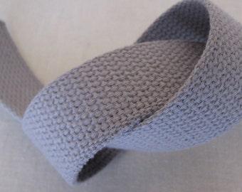 "Cotton Webbing 1 1/4"" GREY For Key Fobs Handbags Belts"