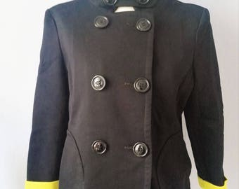 Vintage jacket 70s style second hand M Black Yellow designer Rosner rows stand-up collar Navy Captain